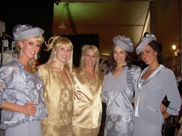 "Fourth from left - modelling ""Mother of the Bride"" outfits at 29! Noqw that i am 30, I am usually ionly considered for shoots as a mother  M"