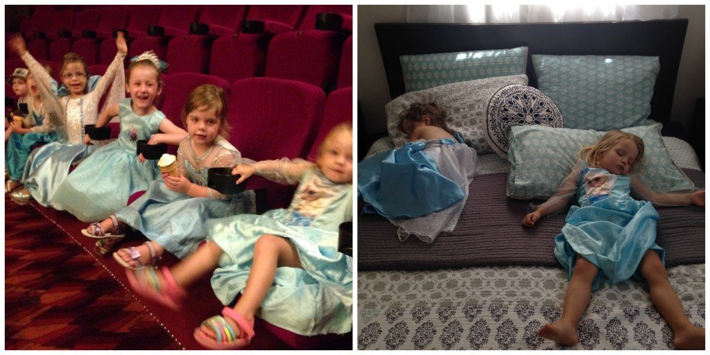 "Sisters Chloe Joy and Emily (my inspiration for this post) before and after a ""Frozen"" singa-along movie session."